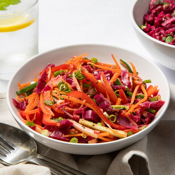 Mexican Slaw in white dish