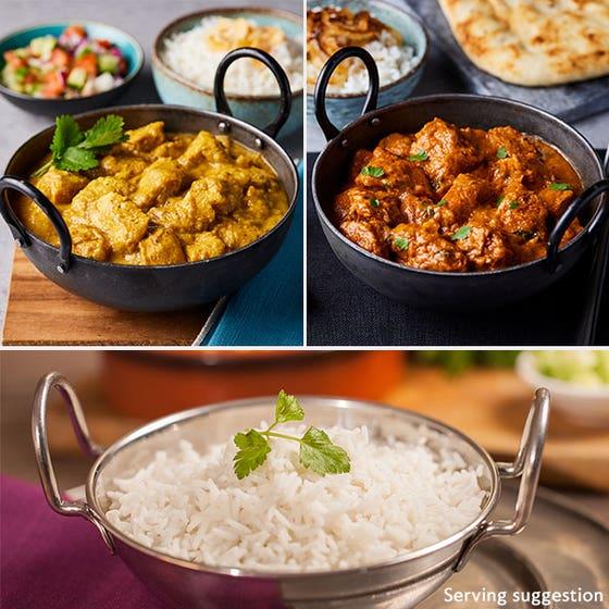 Chicken Korma, Chicken Tikka and Rice in bowls