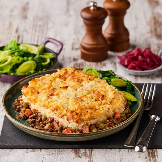 Hunter's Pie on plate with vegetables