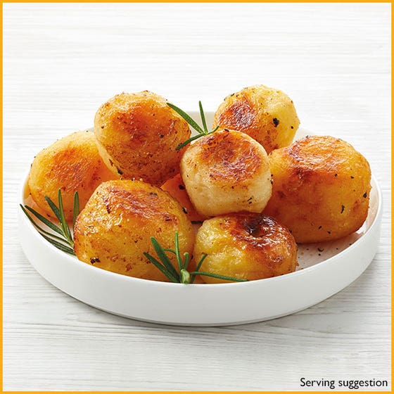 goose fat roast potatoes on white plate
