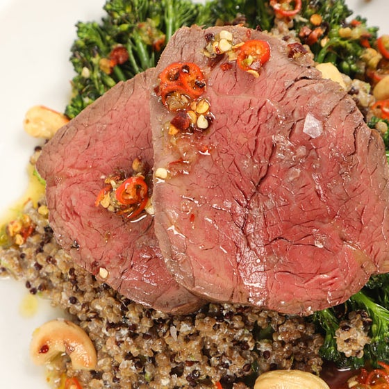 Steak, broccoli and quinoa salad with a coconut dressing