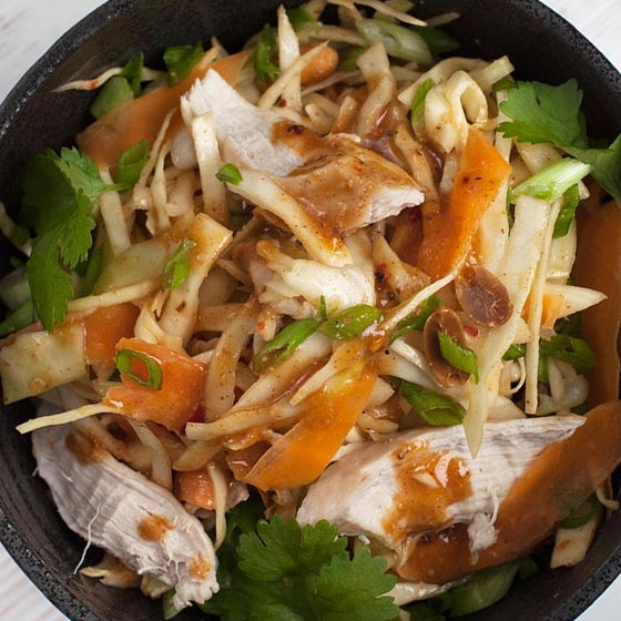 Thai Chicken Salad in black dish