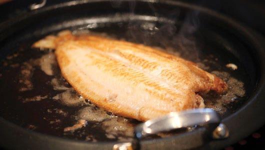 Lemon Sole Cooking in Frying Pan