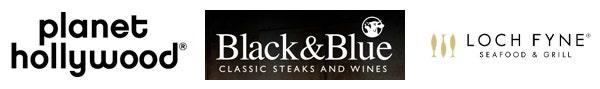 Restaurant Logos - Planet Hollywood, Black & Blue, and Loch Fyne