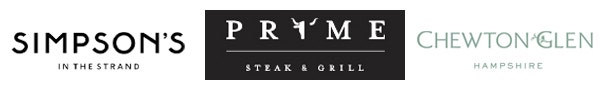 Restaurant Logos - Simpsons in the Strands, Prime Steak & Grill, and Chewton Glen