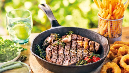 Ribeye Steak Cooked in Cast Iron Pan